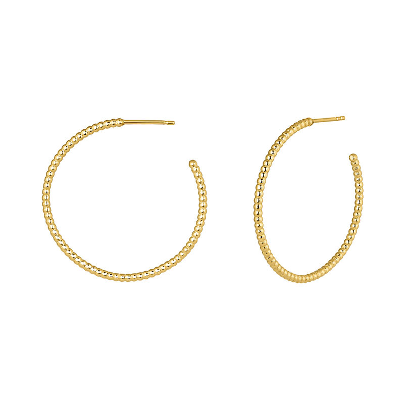 Hoop earrings with balls yellow gold, J04258-02, hi-res