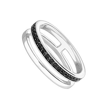 Silver smooth and pavé ring with spinels , J04033-01-BSN, hi-res