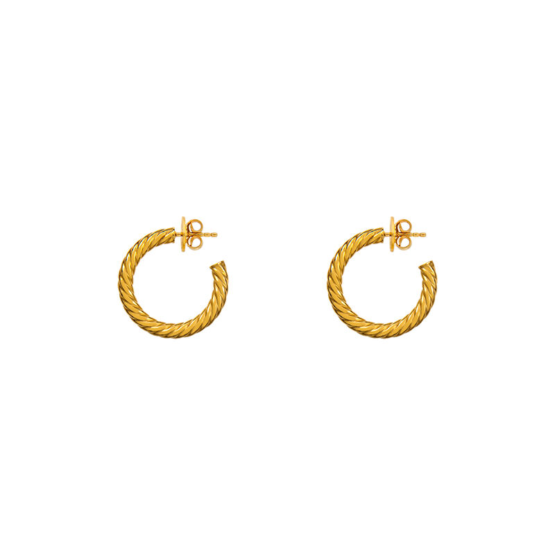 Pendientes aro gallonado mediano oro, J01588-02, hi-res