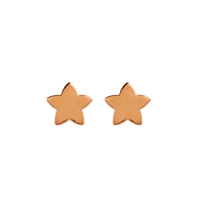 Rose gold plated star earrings, J01086-03-NEW, hi-res