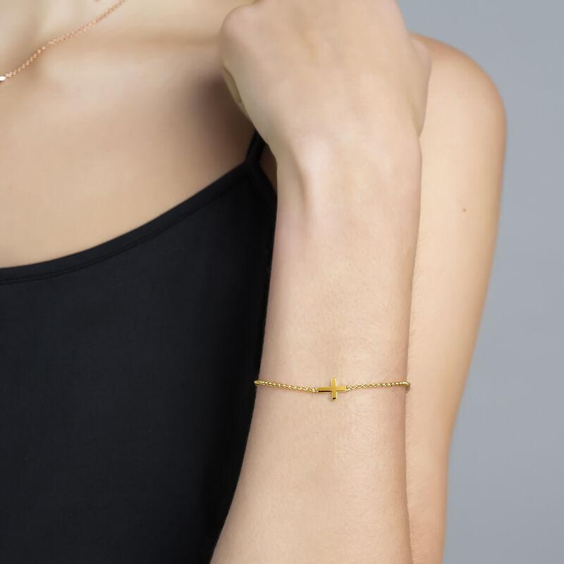 Bracelet croix en argent plaqué or, J00871-02, hi-res
