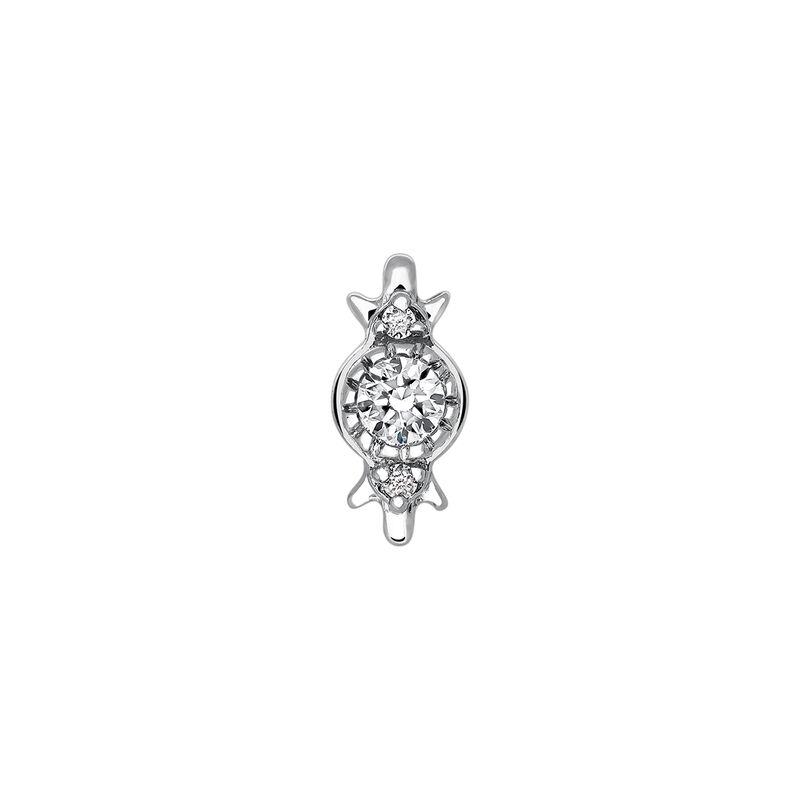 Pendiente piercing tres diamantes oro blanco 0,049 ct, J03382-01-H, hi-res