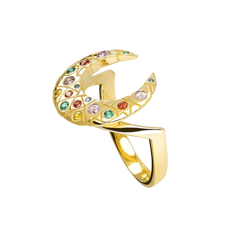 Gold horseshoe ring with stones, YELLOWGOLDPLTD STERLING SILVER, hi-res