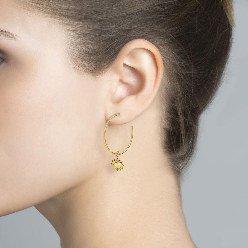 Gold plated silver eye stones hoop earrings, J04406-02-WT-MULTI, hi-res