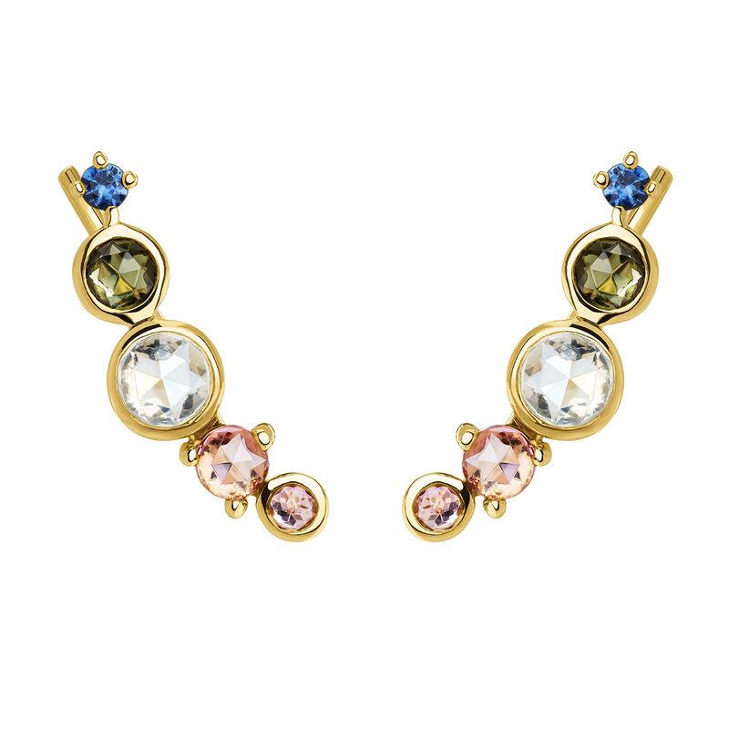 Gold plated climber earrings with tourmaline , J04146-02-BSGTSKYPT, hi-res