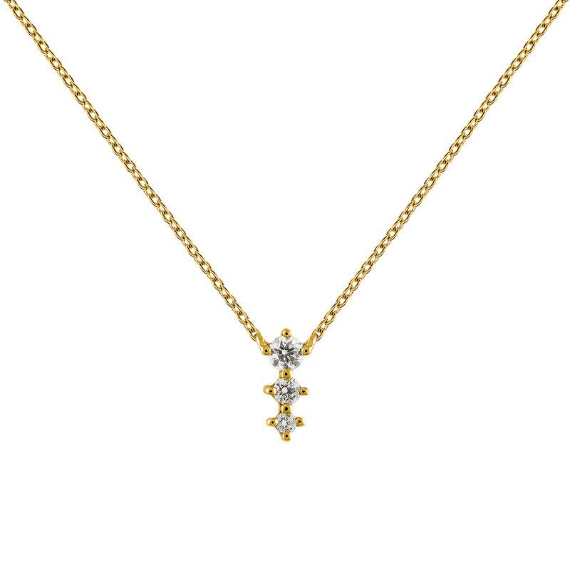 Gold diamonds triple necklace 0.06 ct, J03365-02, hi-res