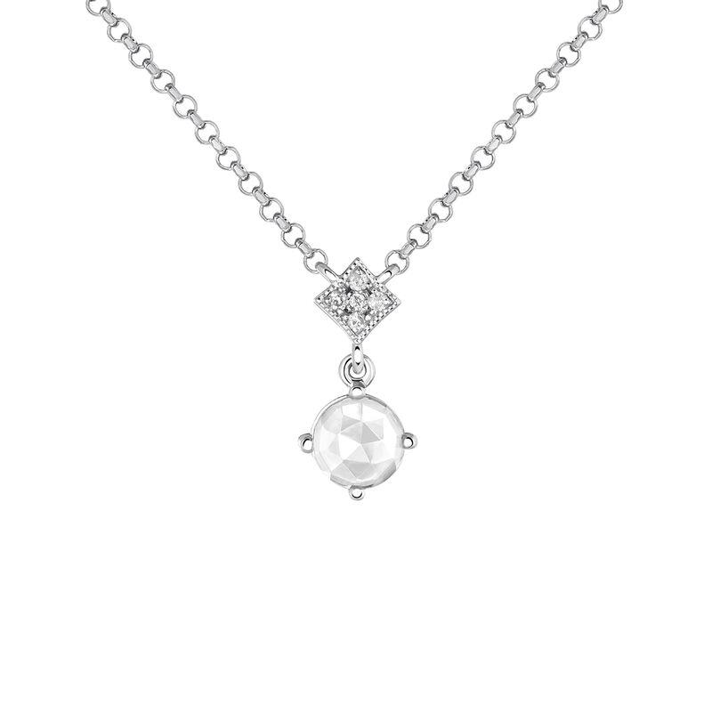 Silver Gemstone Vintage Necklace, J03801-01-WT-GD, hi-res
