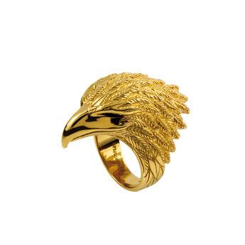 Anillo grande águila plata recubierta oro, J01497-02, hi-res