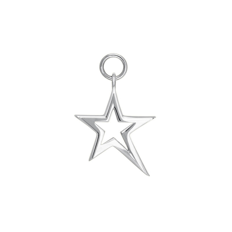 Silver hollow asymmetric star necklace, J03975-01, hi-res