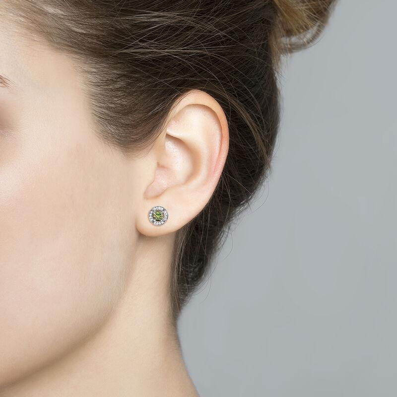 Small silver green tourmaline and diamond earrings, J03770-01-GTU, hi-res