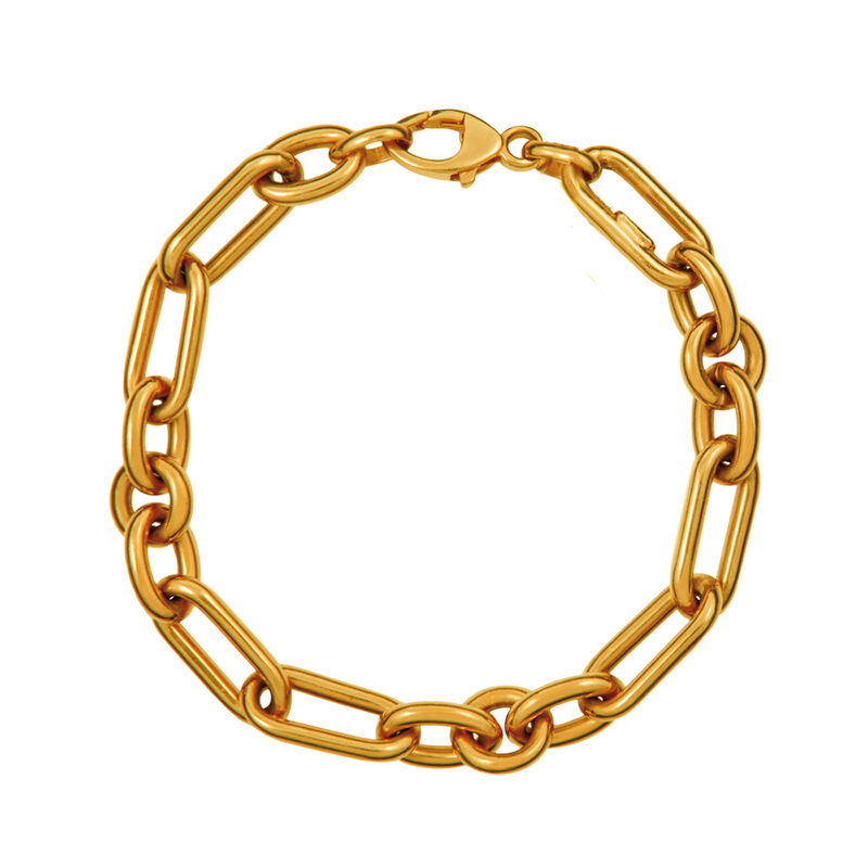 Pulsera mix eslabón plata recubierta oro, J01319-02, hi-res