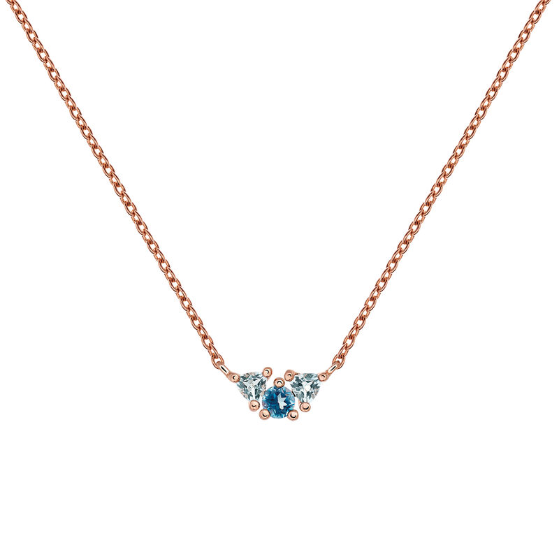 Medium rose gold plated necklace with topaz, J03424-03-LBSBSK, hi-res