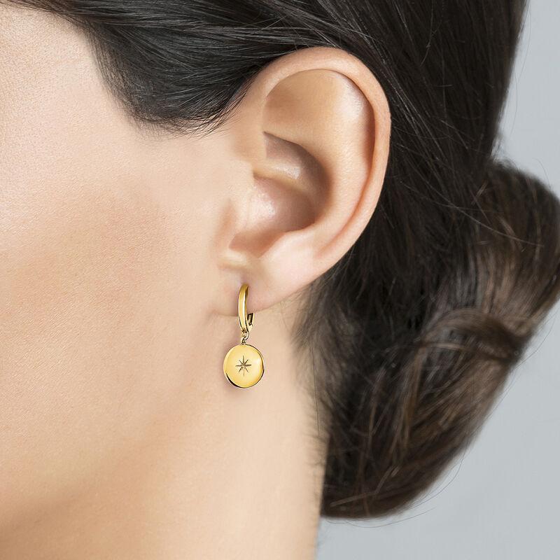Gold plated star round motif hoop earrings, J04606-02, hi-res
