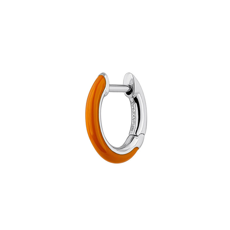 Silver orange enamel earring, J04129-01-ORENA-H, hi-res