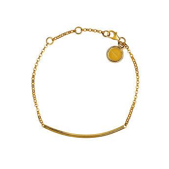 Bracelet tube argent plaqué or, J01706-02, hi-res