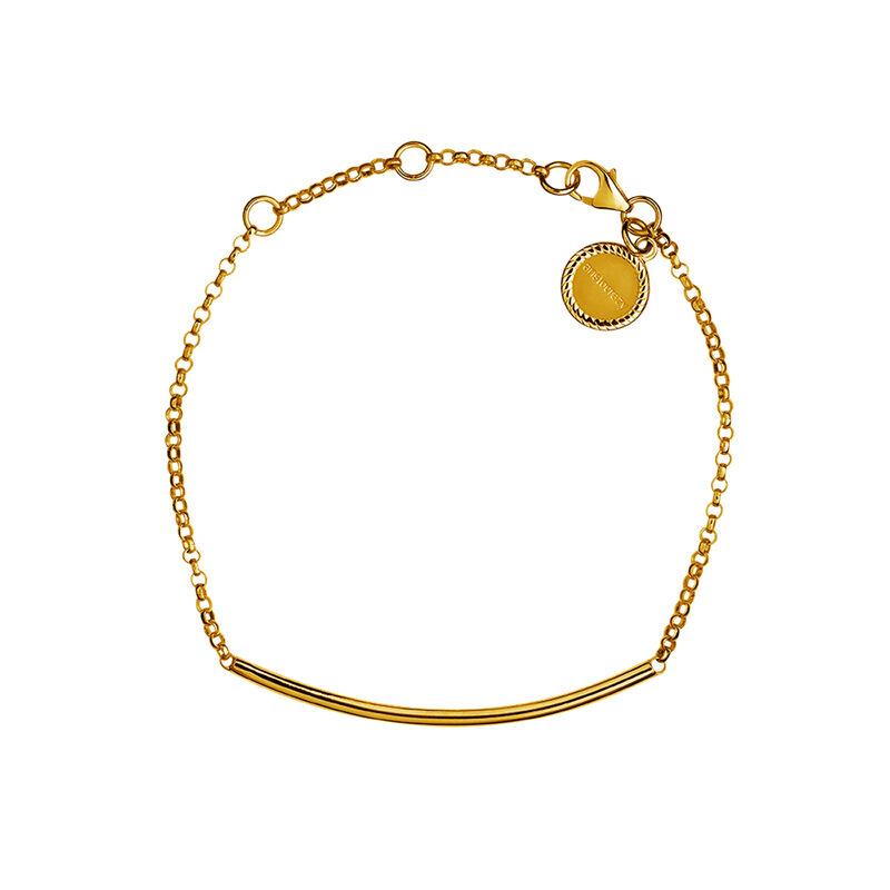 Pulsera tubo plata recubierta oro, J01706-02, hi-res