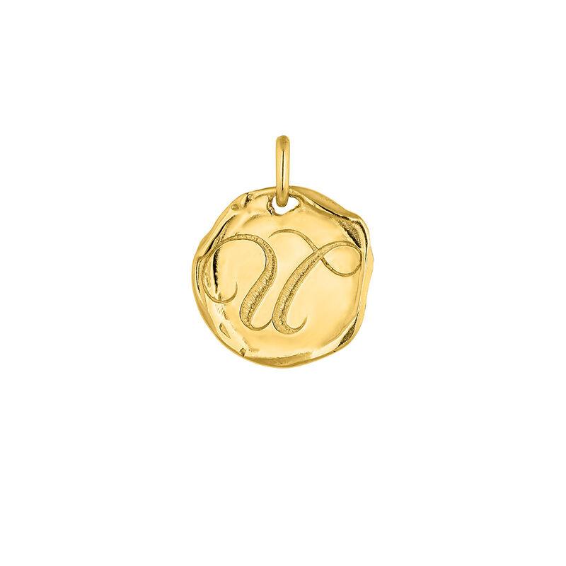 Pendentif médaille initiale U argent plaqué or, J04641-02-U, hi-res