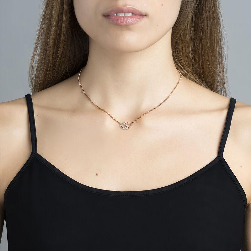 Silver double heart necklace, J03195-05, hi-res