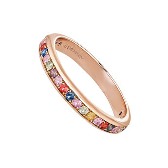 Small rose gold sapphires ring, J04103-03-MULTI, hi-res