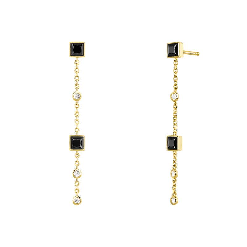 Boucles d'oreilles longues spinelle et topaze or, J04090-02-BSN-WT, hi-res
