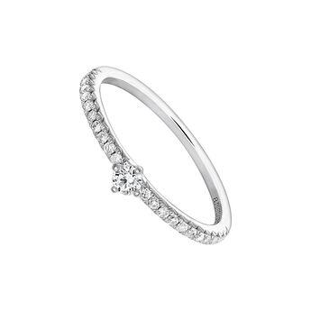 White gold single border ring 0.08 ct. diamonds, J03933-01-15-08, hi-res