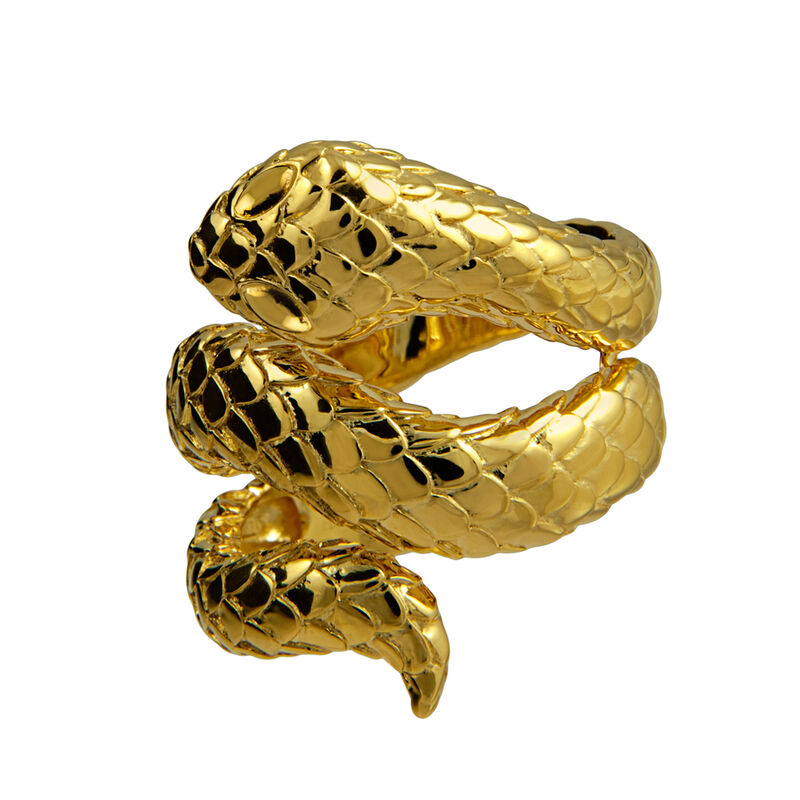 Gold plated open snake ring, J00305-02, hi-res