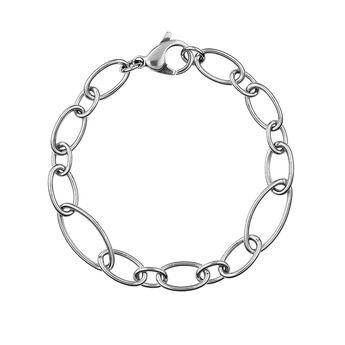 Silver round and oval link bracelet, J01369-01, hi-res