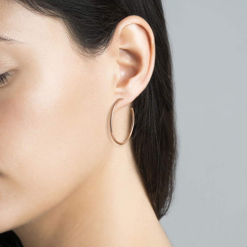 Medium rose gold plated smooth thin hoop earrings, J03519-03, hi-res