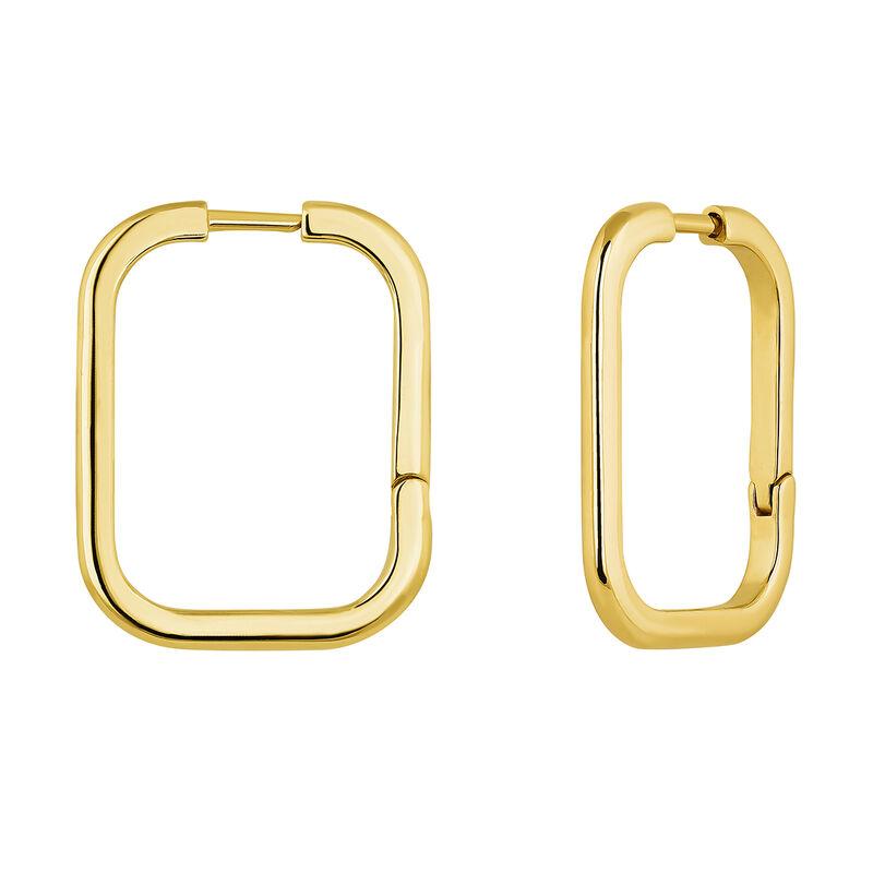 Grandes boucles d'oreilles carrées argent plaqué or, J04645-02, hi-res