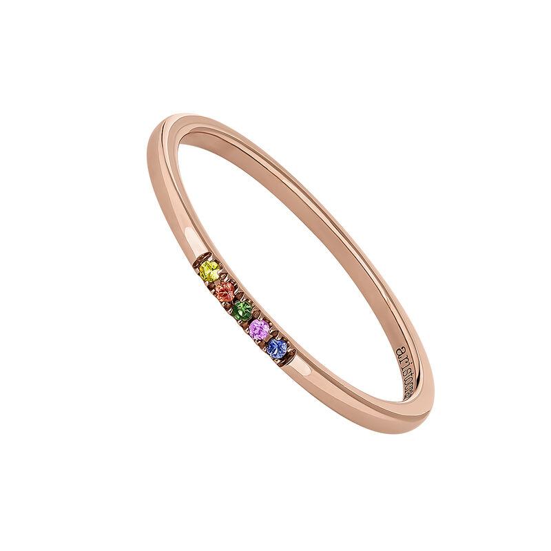 Rose gold multicolor sapphire and tsavorite ring, J04340-03-MULTI, hi-res