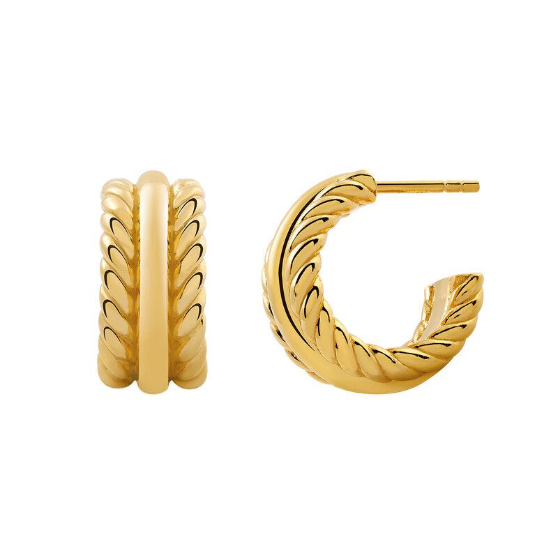 Pendientes aro trenzado oro, J03097-02, hi-res