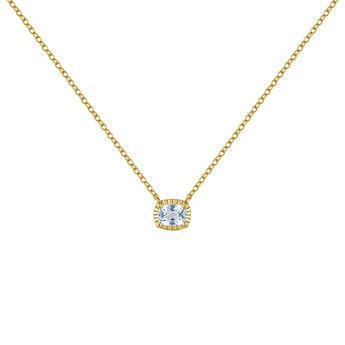 Gold plated blue topaz necklace, J04668-02-SKY, hi-res