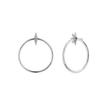 Boucles d'oreilles créole étoile argent, J03723-01-GD, hi-res