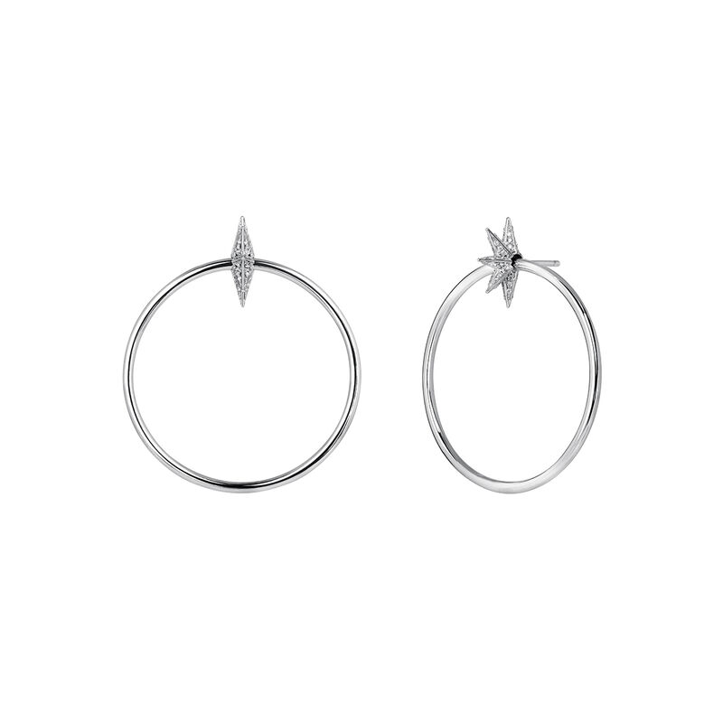 Silver Star Hoop earrings, STERLING SILVER, hi-res