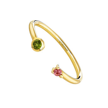 Gold plated You and me tourmaline ring, J04149-02-GTPT, hi-res