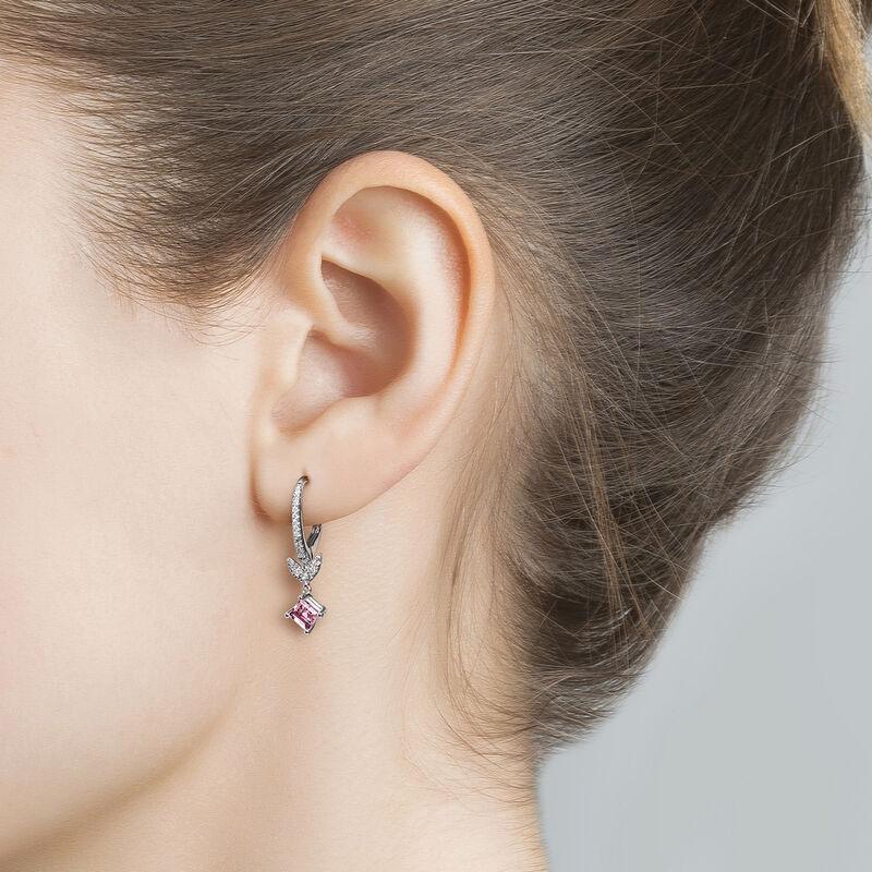 Silver Pink Tourmaline Leaf Hoop Earrings, J03712-01-PTU, hi-res