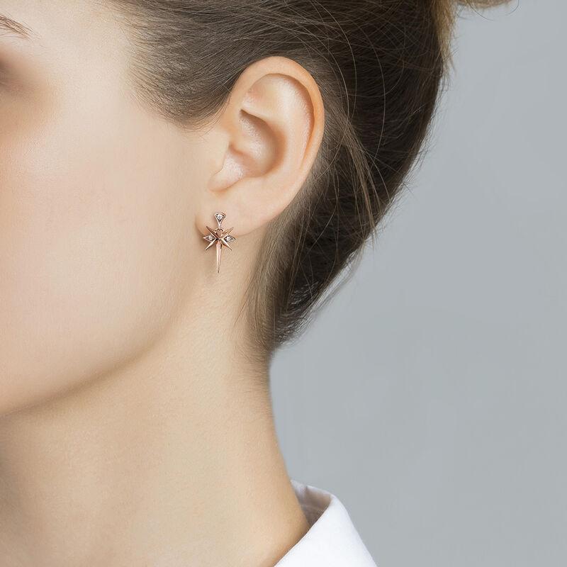 Rose-Gold Short Bohemian Earrings, J03897-03-WT, hi-res