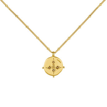 Gold plated antique medal necklace, J04265-02, hi-res