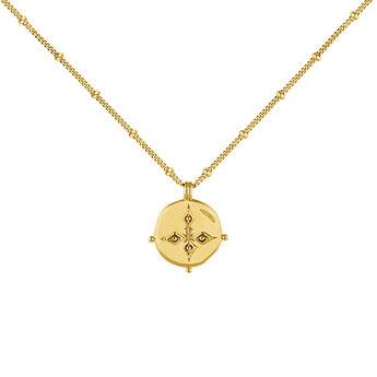 Collier médaille antique plaqué or, J04265-02, hi-res