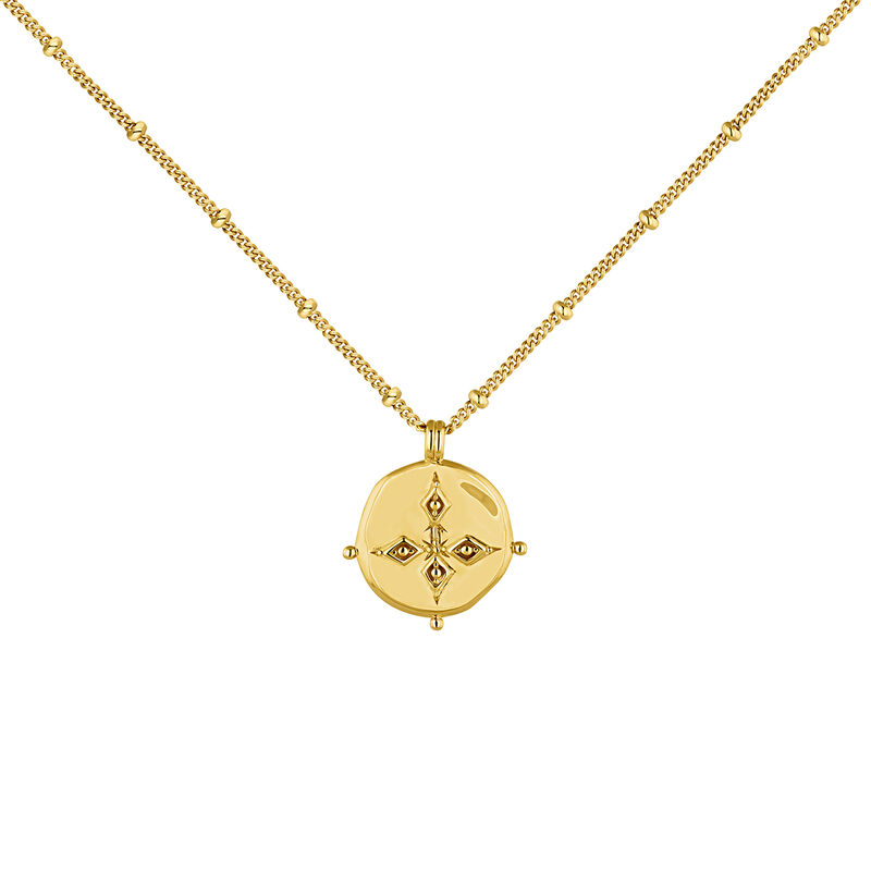 Gold plated antique medal necklace