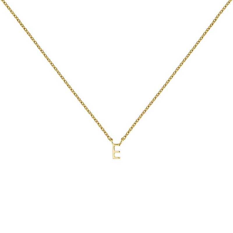 Gold Initial E necklace, J04382-02-E, hi-res