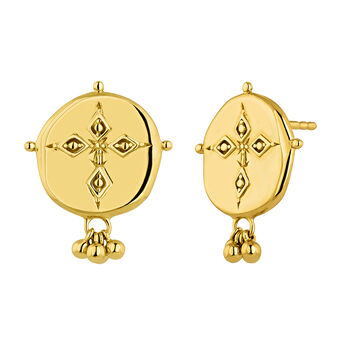 Gold plated medal antique earrings, J04262-02, hi-res