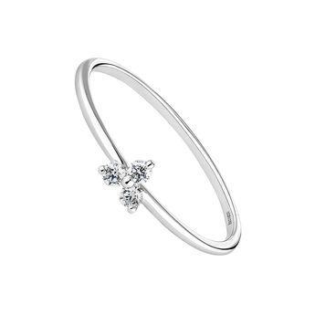 Anillo trébol diamantes 0,075 ct oro blanco, J04434-01, hi-res