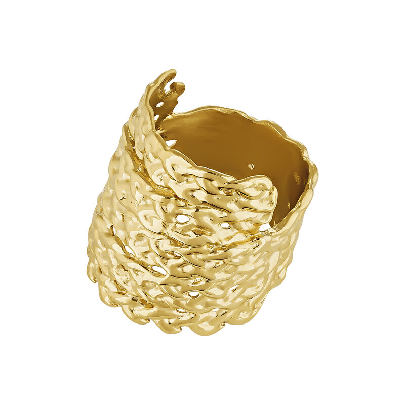 Gold plated wicker ring, J04412-02, hi-res