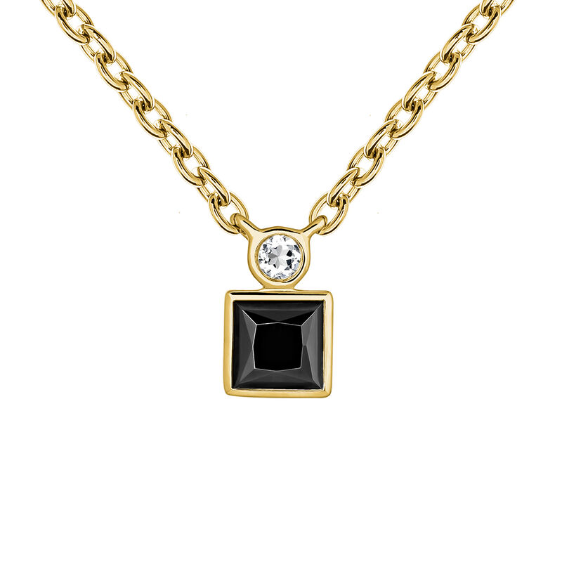 Gold plated necklace with spinels  and topaz, J04061-02-BSN-WT, hi-res
