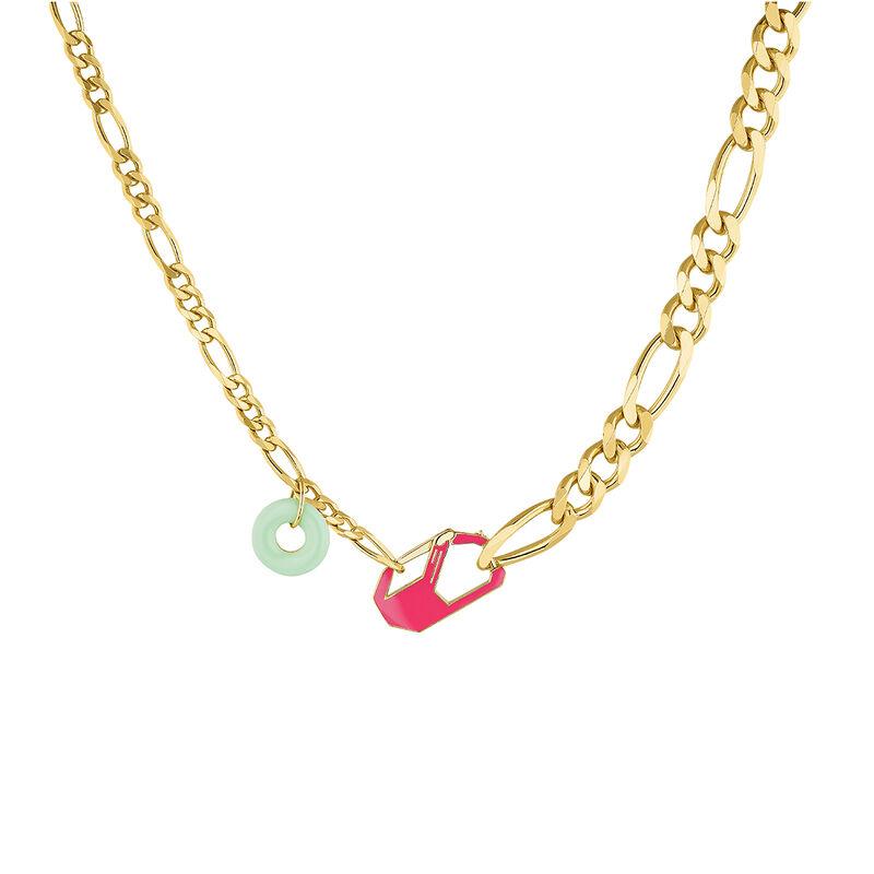 Collier chunky détachable rose argent plaqué or, J04625-02-ENPQ, hi-res