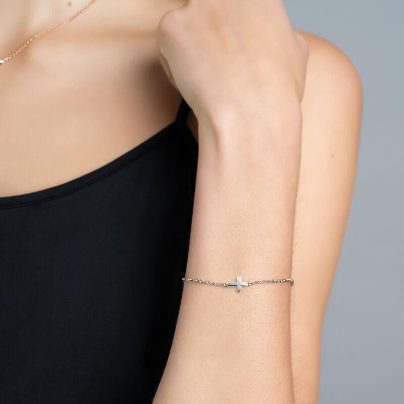 Bracelet croix en argent, J00871-01, hi-res