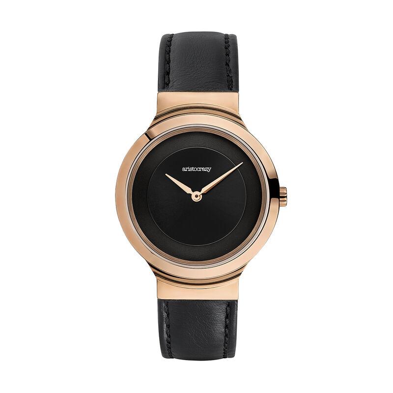 Vesterbro watch black strap, W48A-PKPKBL-LEBL, hi-res