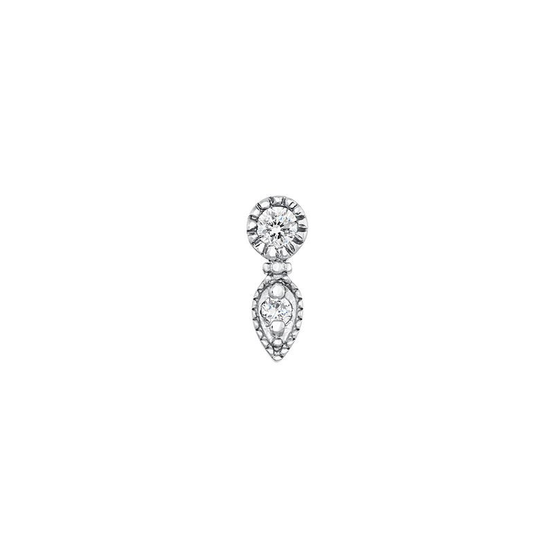 White gold diamond drop piercing ring 0.02 ct, J03915-01-H, hi-res
