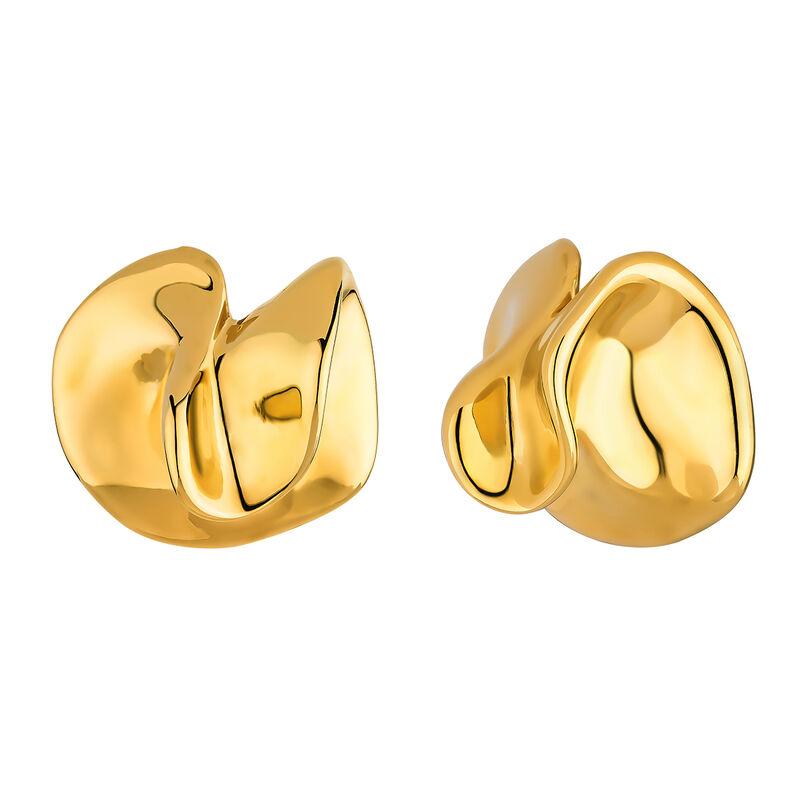 Boucles d'oreilles géométriques pétales en argent plaqué or, J04384-02, hi-res